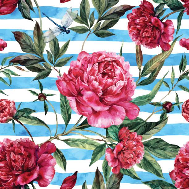 Watercolor seamless pattern of pink peonies and green leaves. - ilustración de arte vectorial