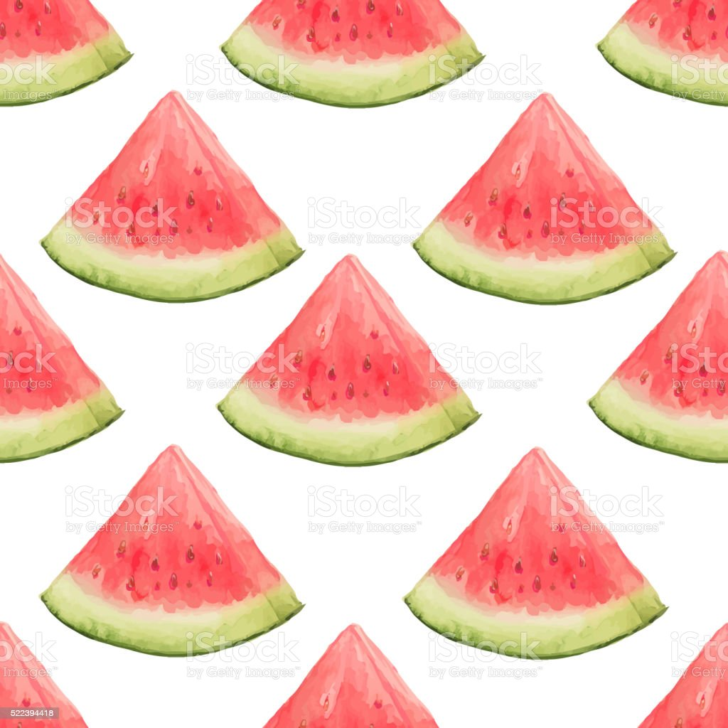 Watercolor seamless pattern of watermelon slices vector art illustration
