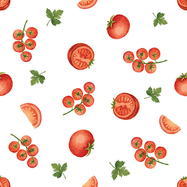 watercolor seamless pattern - cherry tomato stock illustrations