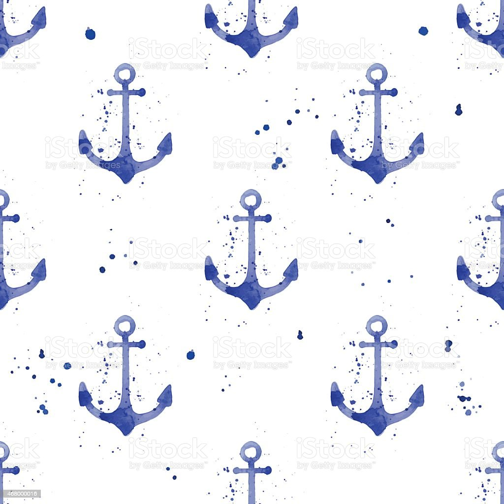 Watercolor seamless pattern with anchors vector art illustration
