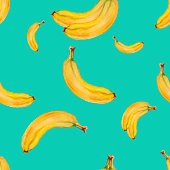 Watercolor seamless pattern with bananas