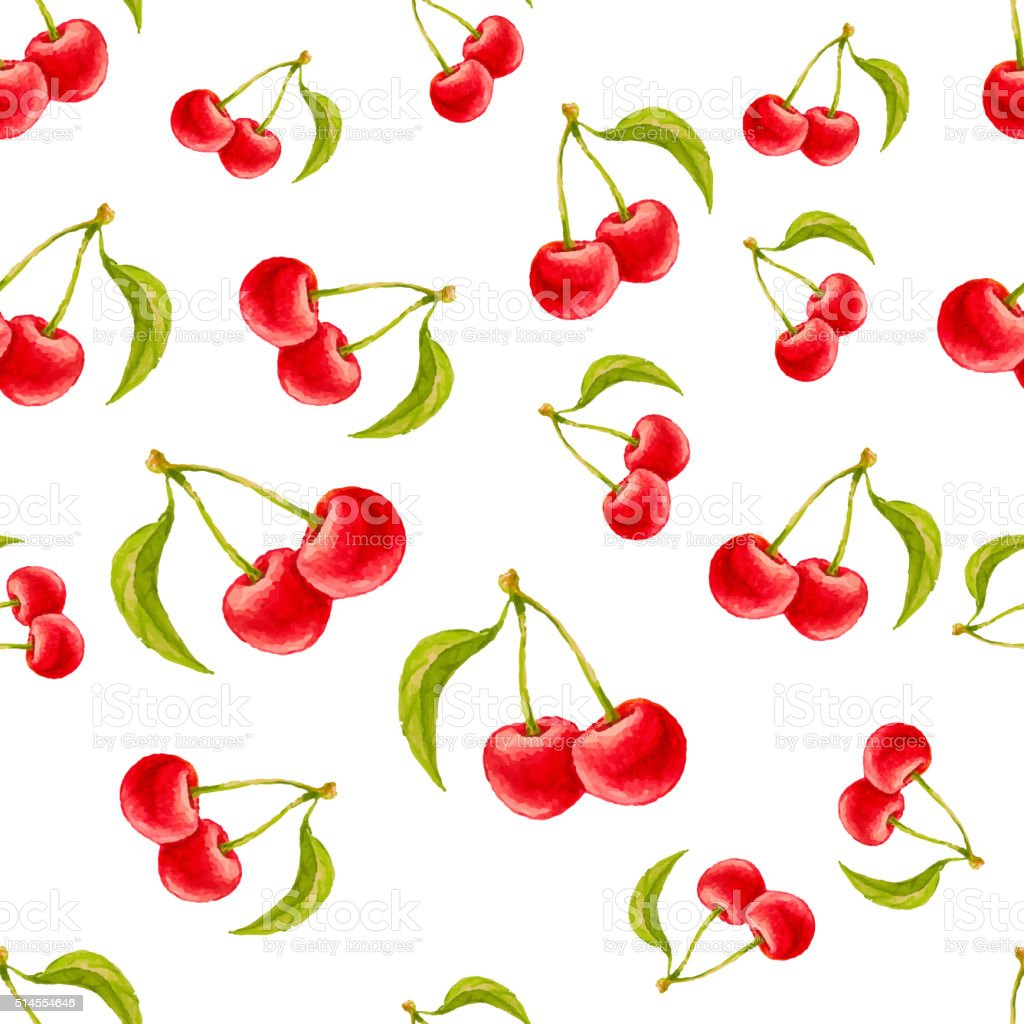 Watercolor seamless pattern with cherries. vector art illustration