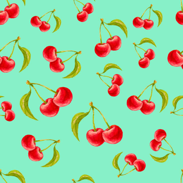 Watercolor seamless pattern with cherries vector art illustration