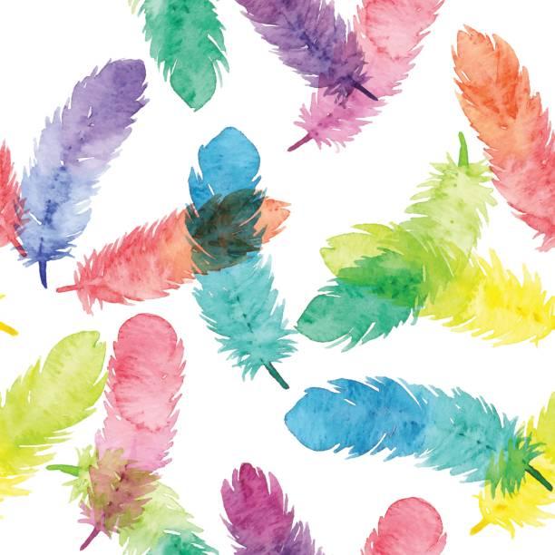 aquarell musterdesign mit farbenfrohe federn - freiflächen stock-grafiken, -clipart, -cartoons und -symbole