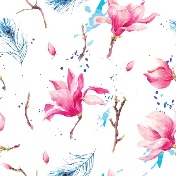 Watercolor Seamless Pattern with Flowers Magnolia Vintage Watercolor Seamless Pattern with Blooming Flowers Magnolia, Twigs and Peacock Feather, Vector natural Illustration pacific dogwood stock illustrations