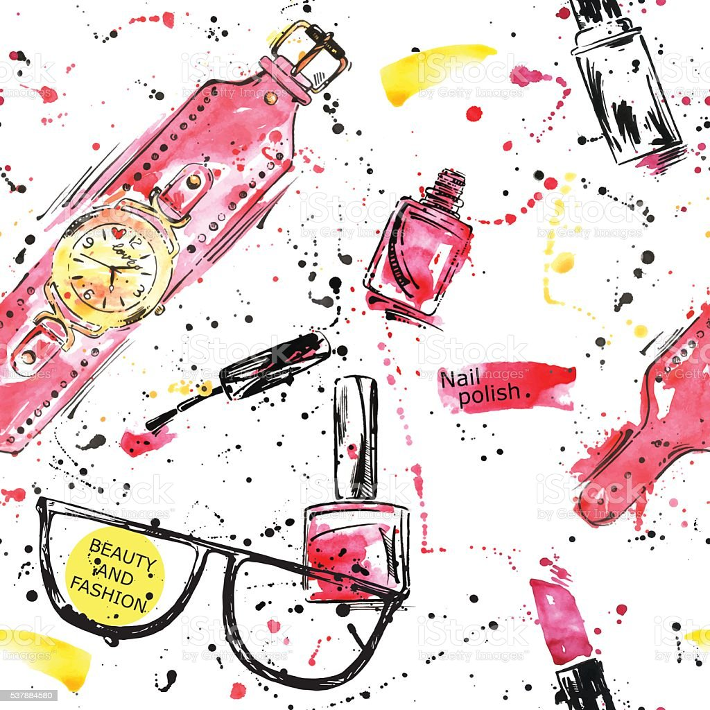 Watercolor seamless pattern with nail polish, lipstick and wristwatches. vector art illustration