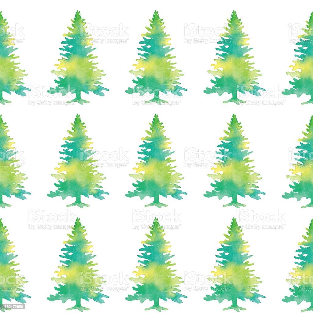çam Ağaçları Ile Sulu Boya Dikişsiz Desen Stok Vektör Sanatı Ağaç