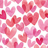 istock Watercolor Seamless Pattern With Red Hearts 954229056