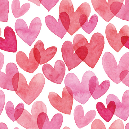 Watercolor Seamless Pattern With Red Hearts
