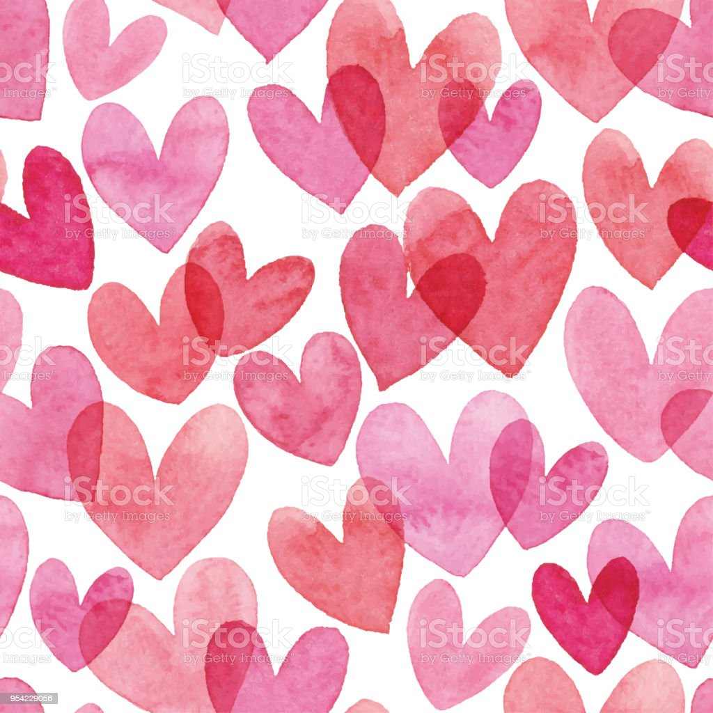 Watercolor Seamless Pattern With Red Hearts vector art illustration