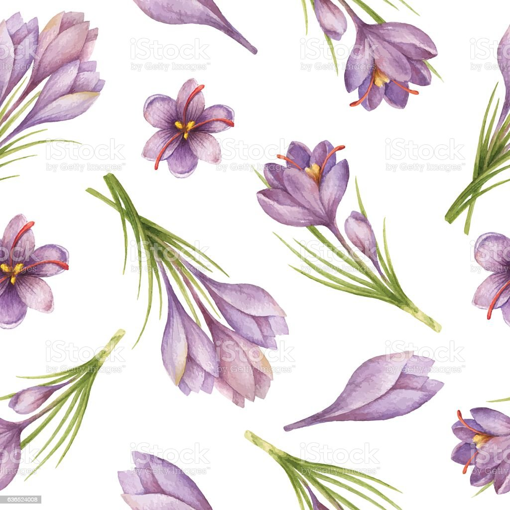 Watercolor seamless pattern with saffron flowers and branches.