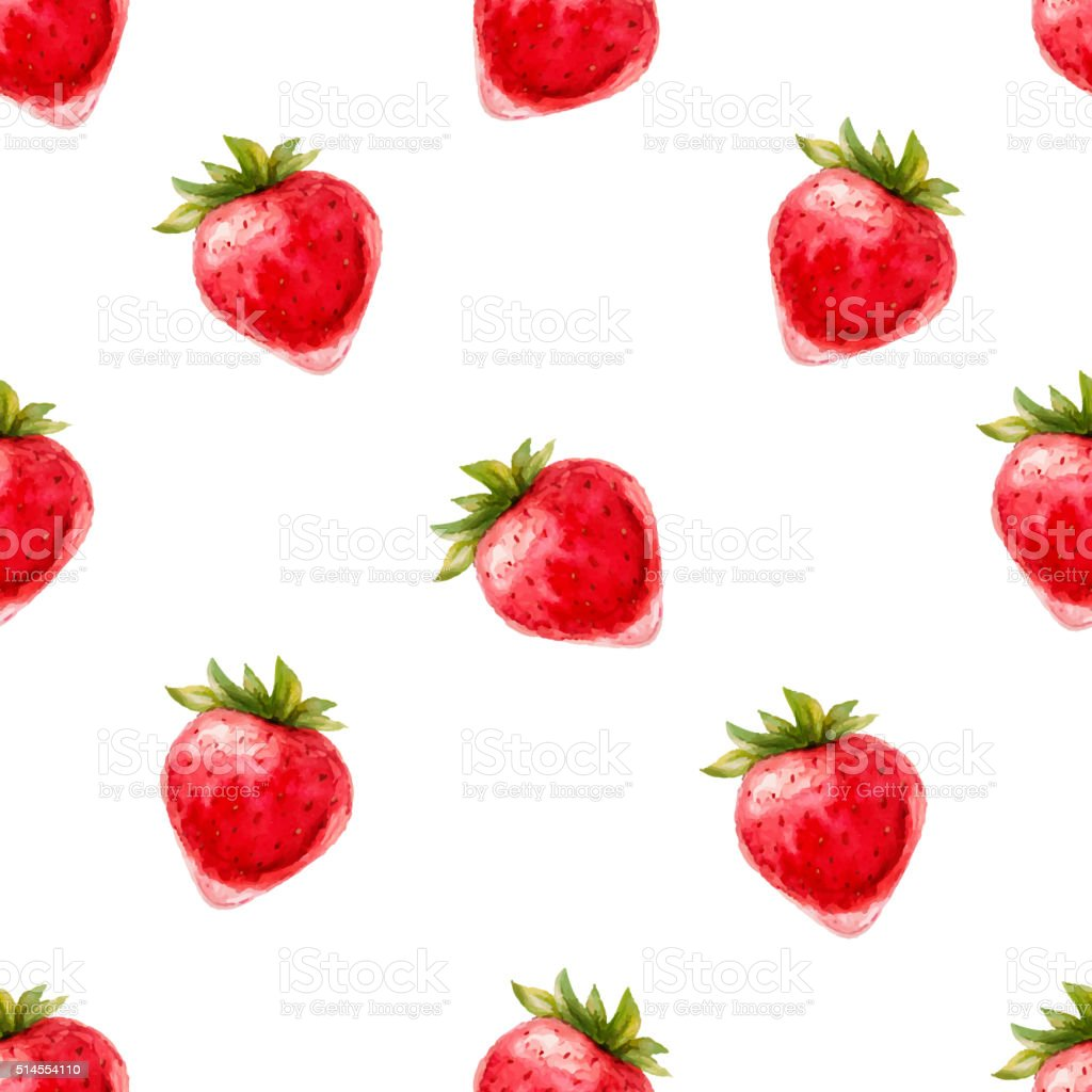 Watercolor seamless pattern with straberries. vector art illustration