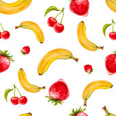 Watercolor seamless pattern with strawberries, cherries and bananas.