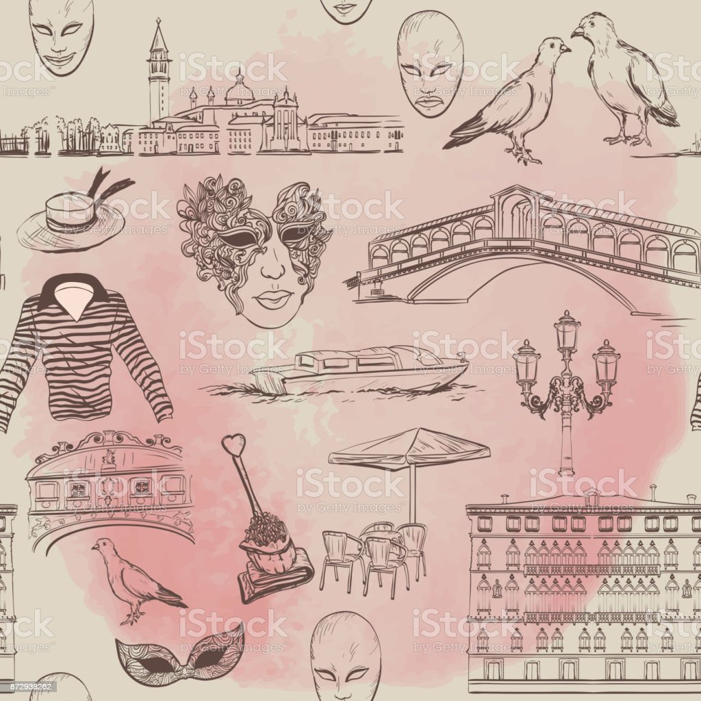 Watercolor Seamless pattern with Venice sketch vector art illustration