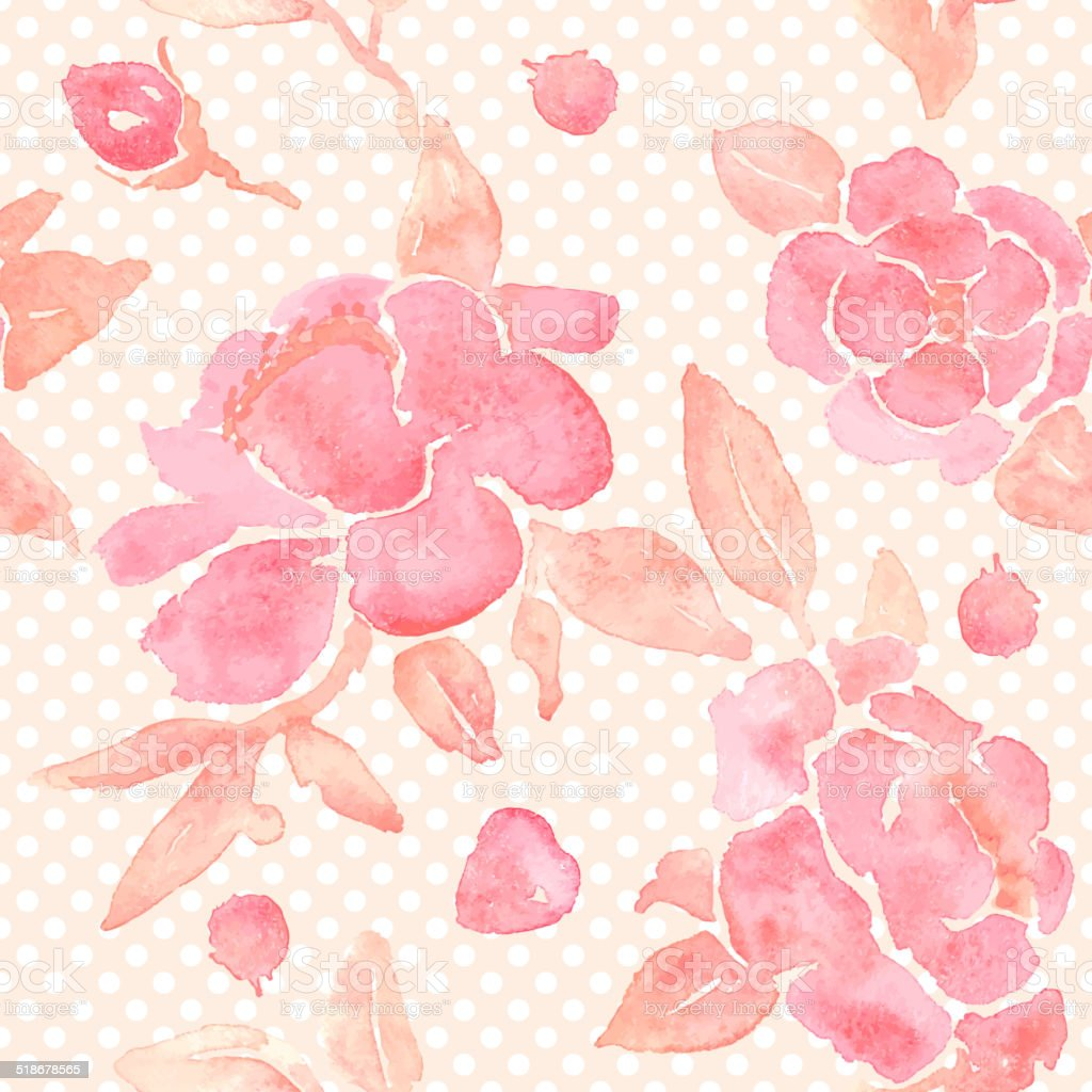 Watercolor seamless wallpaper with Peony flowers in vector. vector art illustration