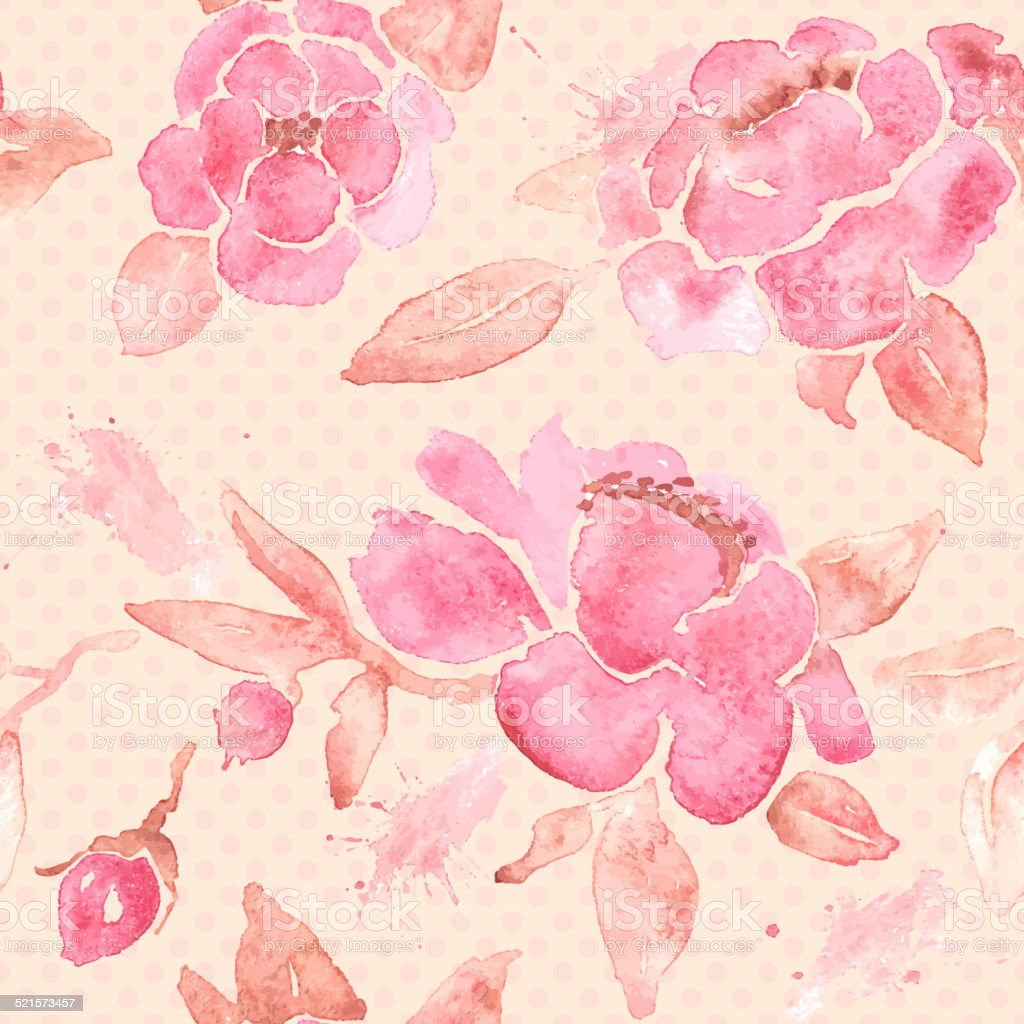 Watercolor Seamless Wallpaper With Peony Flowers In Vector Stock