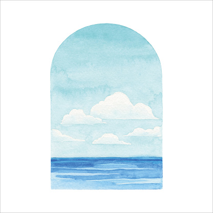 Watercolor Seascape With Frame