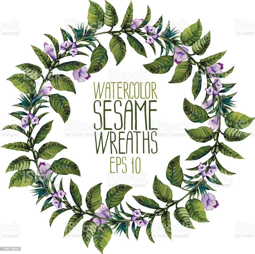 Watercolor sesame wreath vector art illustration