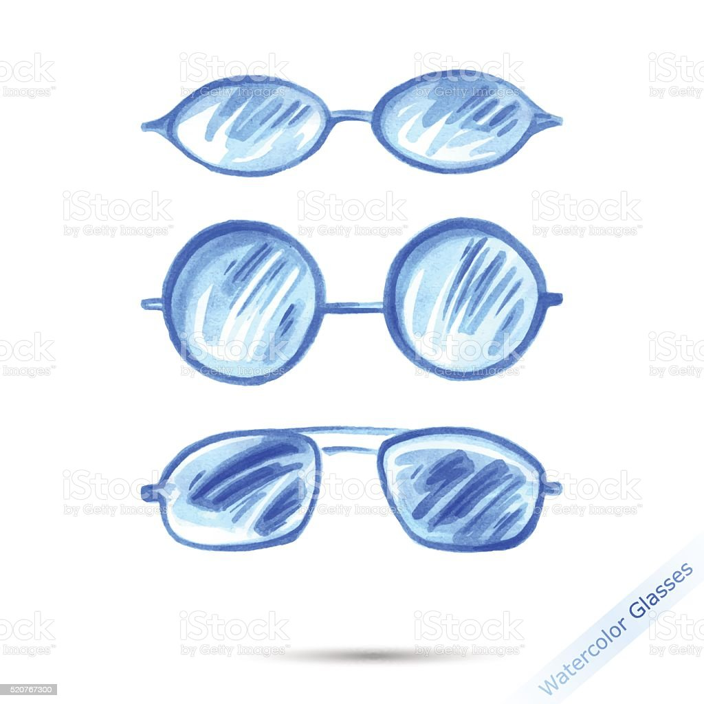 67b35132165 Watercolor set glasses. royalty-free watercolor set glasses stock  illustration - download image now