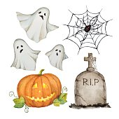 Watercolor set of elements for a happy Halloween party vector illustration.