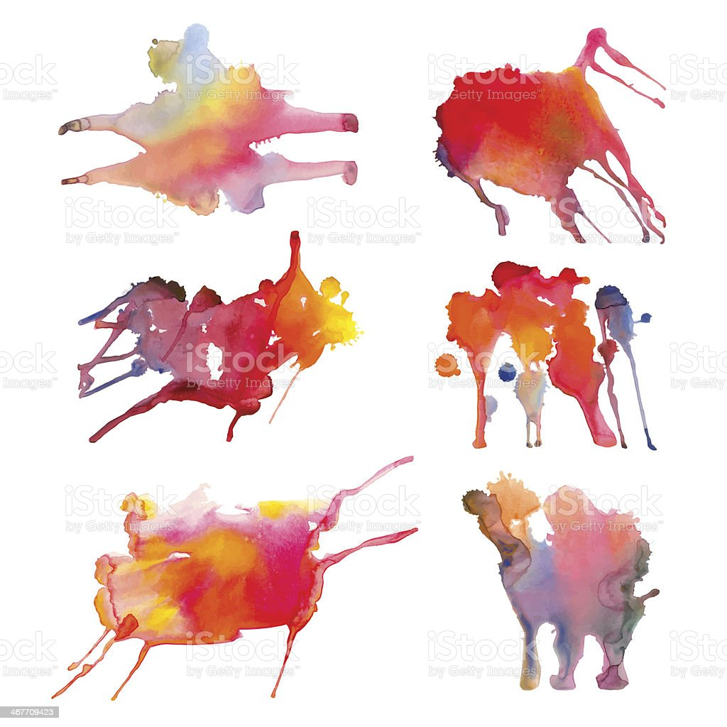 Watercolor set spots isolated royalty-free watercolor set spots isolated stock vector art & more images of abstract