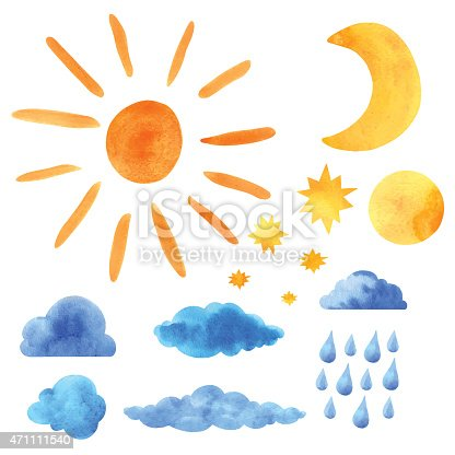 Watercolor icons set sun, clouds, moon, half moon, stars, raindrops closeup isolated on a white background. Hand painting on paper. Art design elements - vector illustration