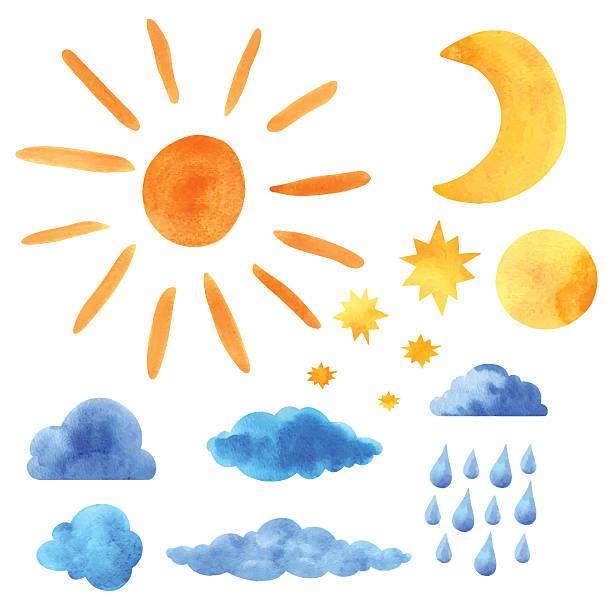 水彩設定太陽、雲、ムーン、ハーフムーン、スター、raindrops - 月のタトゥー点のイラスト素材/クリップアート素材/マンガ素材/アイコン素材
