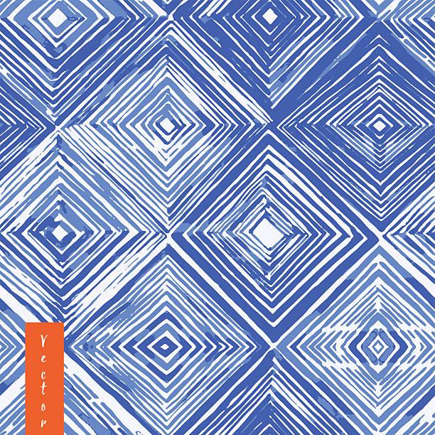 stockillustraties, clipart, cartoons en iconen met watercolor shibori seamless pattern. indigo tie dye . rhombus watercolour illustration. - batik