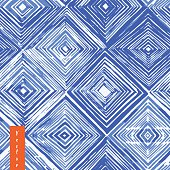 Watercolor shibori seamless pattern. Indigo tie dye . Rhombus watercolour illustration.