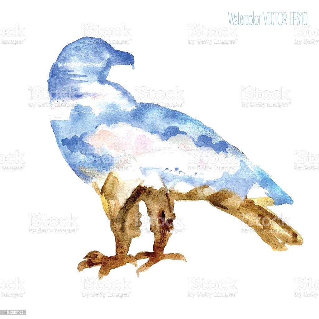 Watercolor Silueta de eagle con vista a las montañas: Nieve-tapa - ilustración de arte vectorial