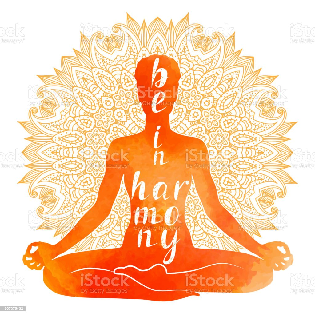 Watercolor Silhouette of Yoga asana, relaxation and meditation. vector art illustration