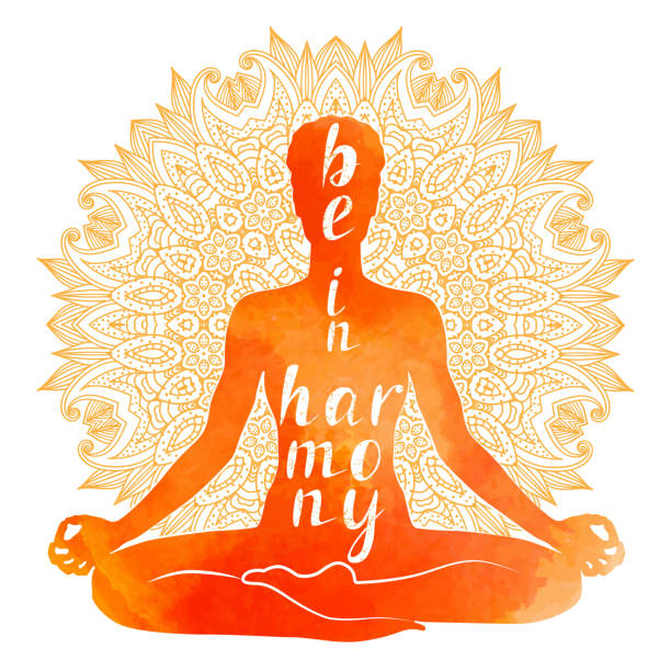 bildbanksillustrationer, clip art samt tecknat material och ikoner med akvarell siluett av yoga asana, avslappning och meditation. - korslagda ben