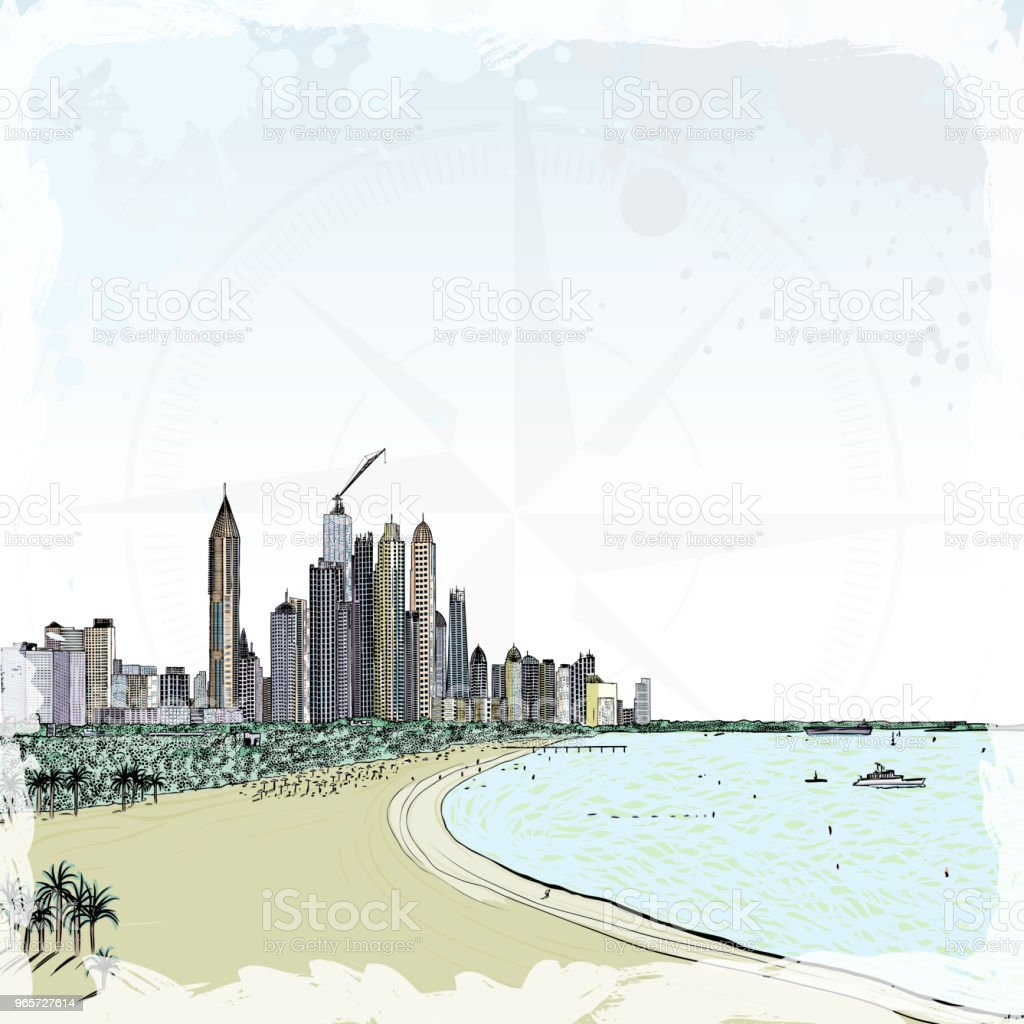 Watercolor sketch of monorail ride view from window at The Palm Jumeirah skyscrapers at Dubai Marina. Media City and beach coast with luxury yachts and sand beaches at United Arab Emirates. Vector. - Royalty-free Apartment stock vector
