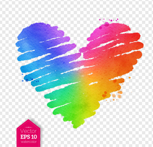 Watercolor sketch of rainbow colored scribble heart vector art illustration