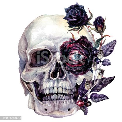 istock Watercolor Skull and Flowers Halloween Illustration 1281439979