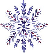 Vector watercolor isolated snowflake. Clean edges.