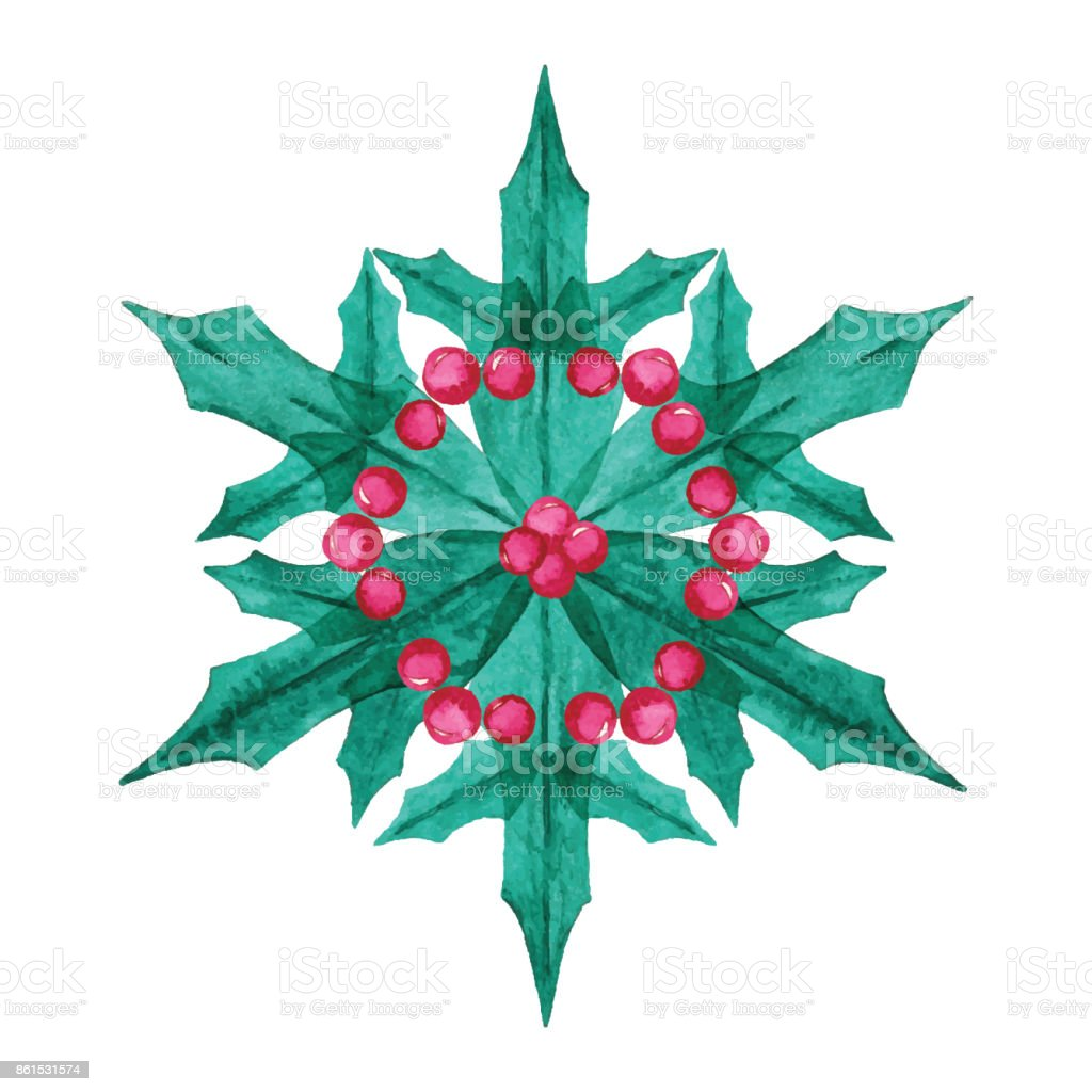 Watercolor Snowflake With Holly