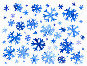 Collection of hand drawn doodle watercolor snowflakes.