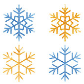 Vectorized snowflakes in watercolor on white background