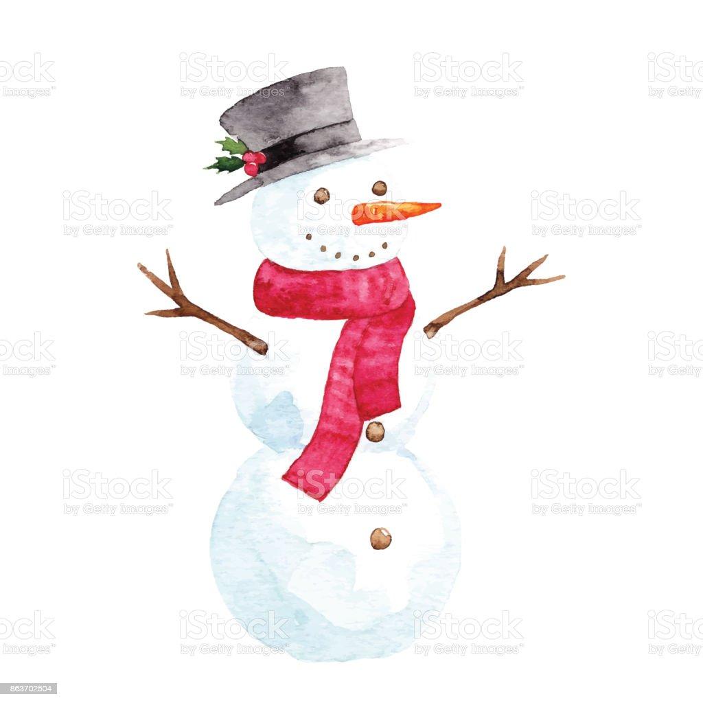 Aquarelle Bonhomme de neige - Illustration vectorielle