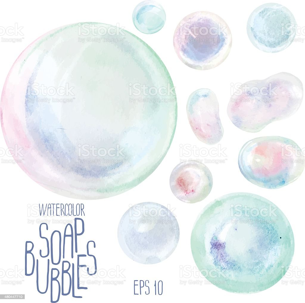 Watercolor soap bubbles vector art illustration