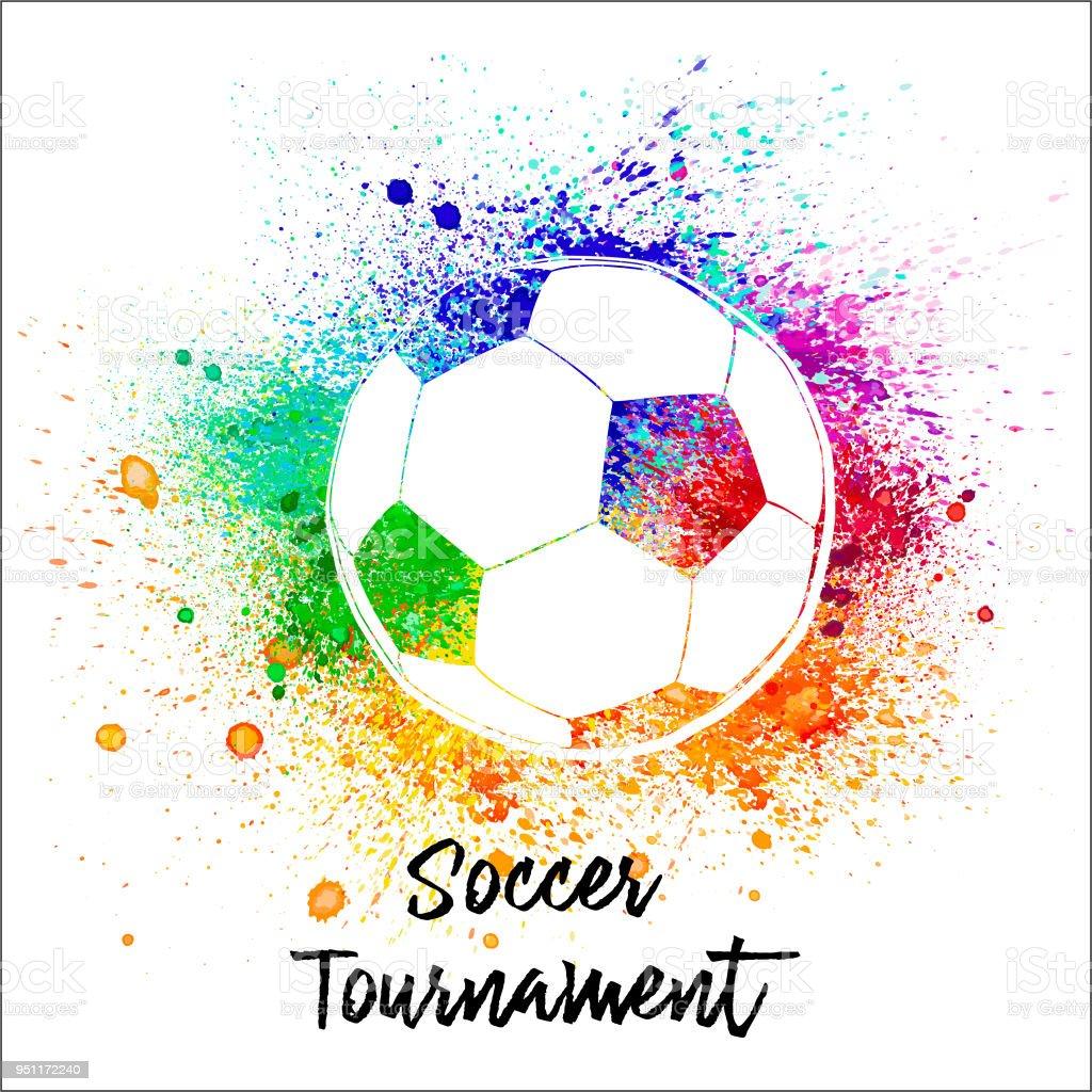 Bola de futebol em aquarela - ilustração de arte em vetor