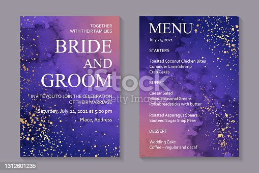 istock Watercolor space backgrounds with abstract purple ink clouds and golden splashes. 1312601235