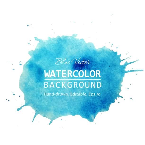 aquarell splash banner-design. isolierte aquarell färben blauen aquarellen hintergrund. aquarell textur hintergrund für text, web, banner, aufkleber, karte, hintergrund, tag, flyer design. vektor - hände wasser waschen stock-grafiken, -clipart, -cartoons und -symbole