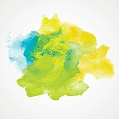 Watercolor Splash with gradient effect. Bright colorful grunge blob. Fashion, beauty,  posters and banners graphic design. Yellow, blue and green colors.
