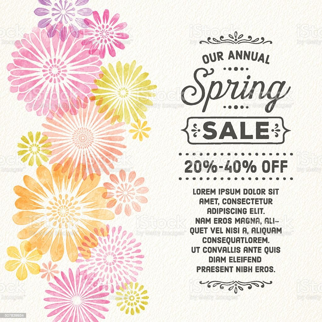 Watercolor Spring Flowers vector art illustration