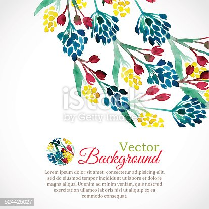 istock Watercolor spring frame with colorful flowers 524425027