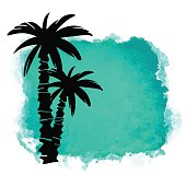Watercolor square paint stain and coconut palm trees