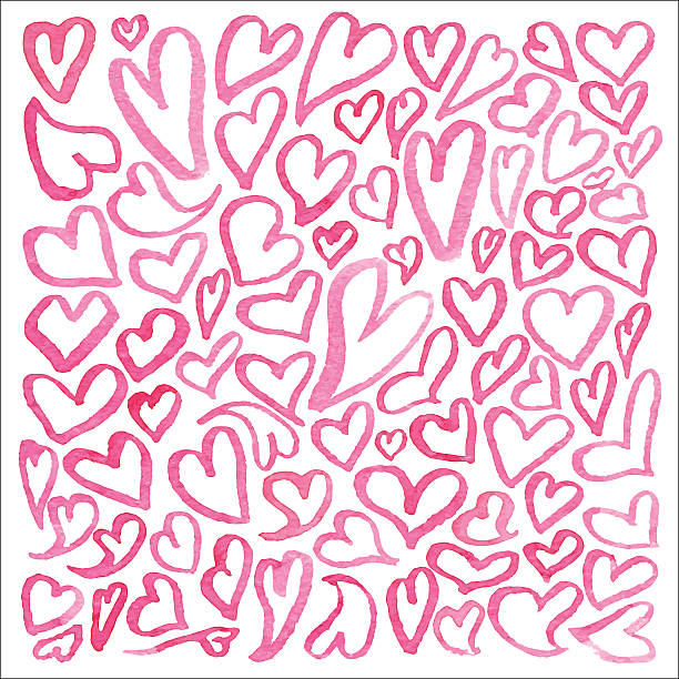 Watercolor square pattern of hearts Hand drawn watercolor square pattern of hearts isolated on white background. A lot of different hand-drawn hearts. Watercolor collection of hearts. Set of doodle hearts affectionate stock illustrations