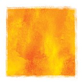 Watercolor square yellow, orange paint stain